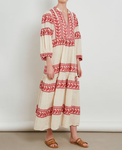 "LONG TUNIC DRESS ""VARKIZA"" RED"
