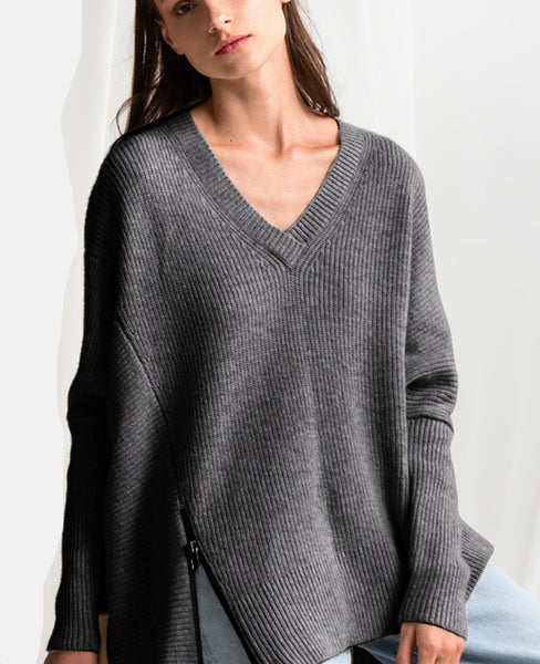 OVERSIZE PULLOVER WITH ZIPPER GREY