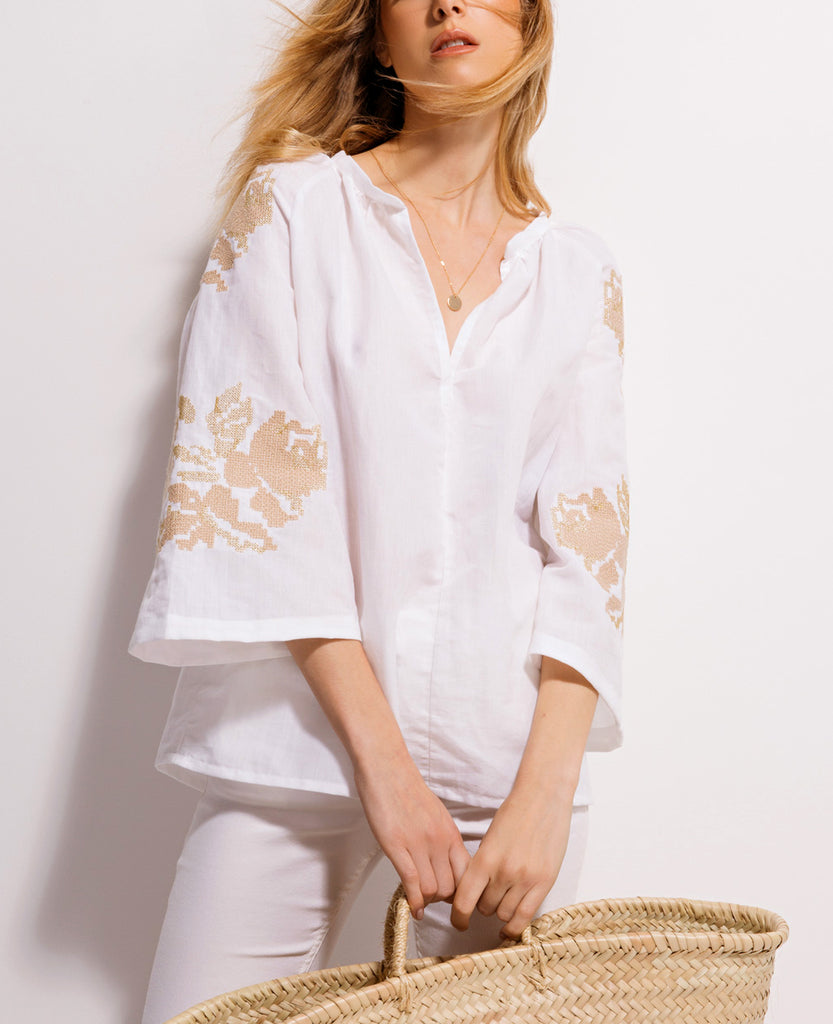 LEINEN BLUSE GOLD/NUDE