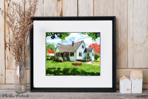 a beautiful farm house that we created as a house portrait