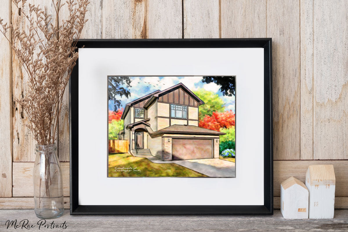 russell mcrae, house portrait, closing gift for realtors, painting of your home, mcrae portraits, chris smith realty for smart people, realtor, realtors realtor gifts.