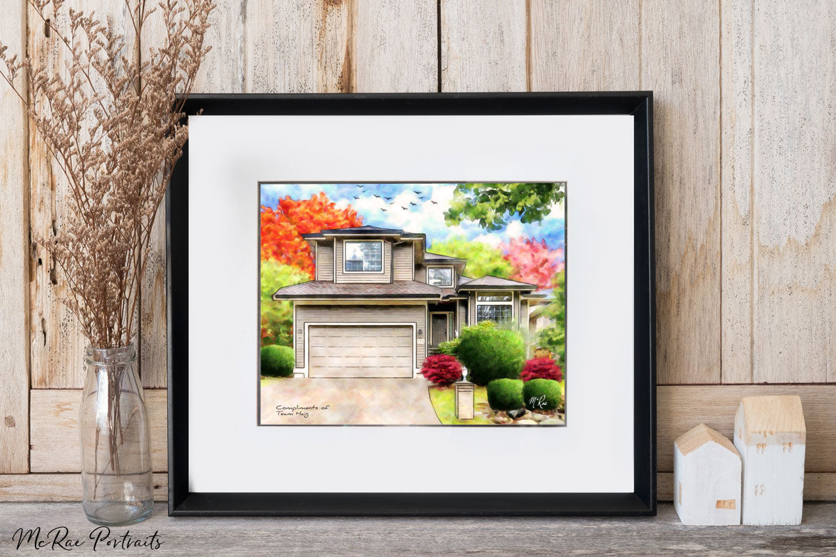 team haig, phil haig, team haig realtor, house portrait, closing gifts for realtors, closing gifts, real estate gifts, gifts for realtors, realtor gift, mcrae portraits