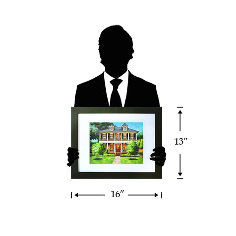 our house portrait package which is 13 inches by 16 inches
