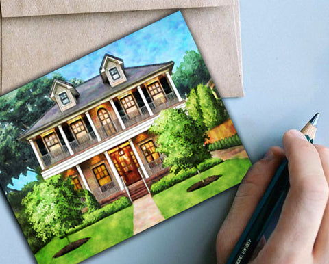 A note card with your clients home on the front