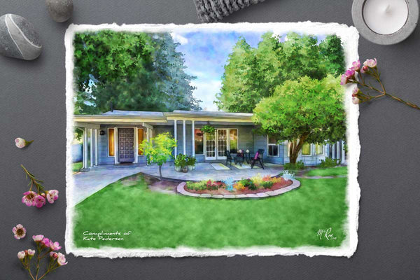 a painting of your clients home is a powerful way to create referrals