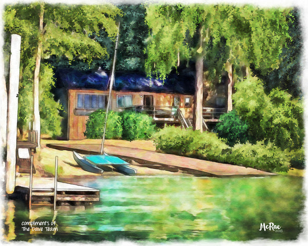 Lakeside house portrait