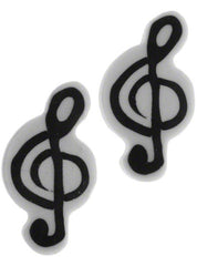 Treble Clef Shaped Rubber (2 Pack) - White/Black