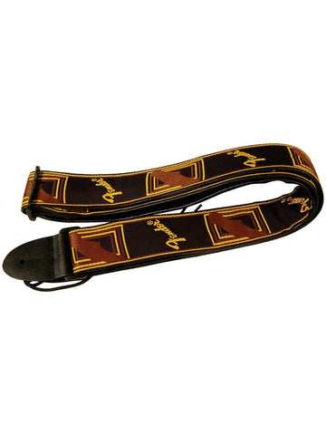 Fender Monogram Guitar Strap - Black/Yellow/Brown