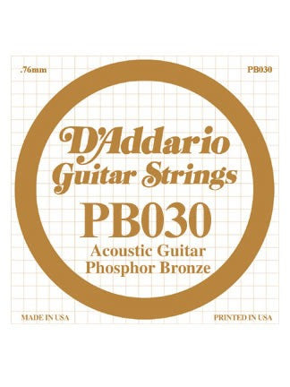 D'addario Phosphor Bronze Acoustic Guitar String - .030 Gauge