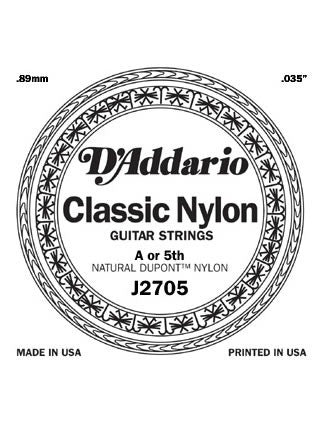 D'addario Classic Nylon Classical Guitar String - Silver Wound on Nylon - Normal - A (5th)