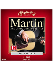 Martin 80/20 Bronze Acoustic 12 String Guitar Strings - Light (12-54) - Set