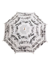 White Umbrella with black Music Notes