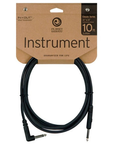 Planet Waves Classic Series Instrument Lead (1 x Right Angle + 1 x Straight Plug) - 10ft