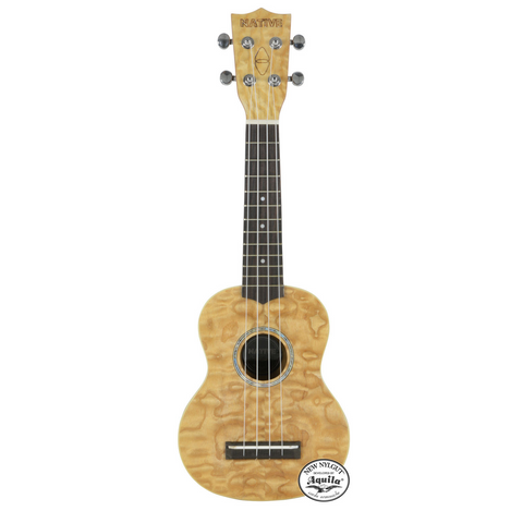 Native Soprano Ukulele in Curly Ash Wood (with Aquilla Strings)