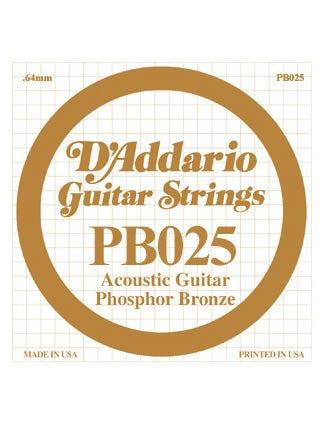 D'addario Phosphor Bronze Acoustic Guitar String - .025 Gauge