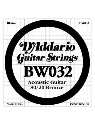 D'Addario 80/20 Bronze Acoustic Guitar String - .032 Gauge