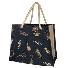 'Mini Shopper' Instrument Motif Jute Bag (Black/Natural/Gold)