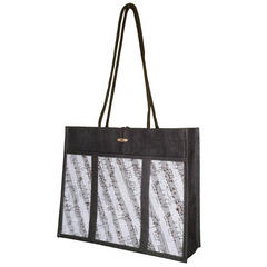 'City Shopper' Music Stave Jute Bag (Black/White)