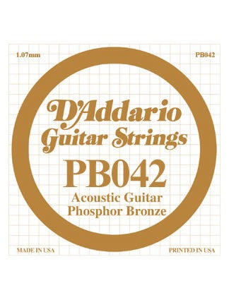 D'addario Phosphor Bronze Acoustic Guitar String - .042 Gauge