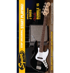 Squier Affinity Jazz Bass in Black with Rumble 15 Amp Pack