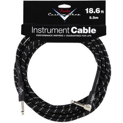 Fender Custom Shop Instrument Cable in Black Tweed - 18.6ft (Angled Jack)