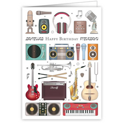Audio + Instruments Happy Birthday Greetings Card