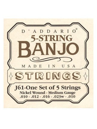 D'Addario 5 String Banjo Strings - Nickel Wound - Medium 10-23 - Set