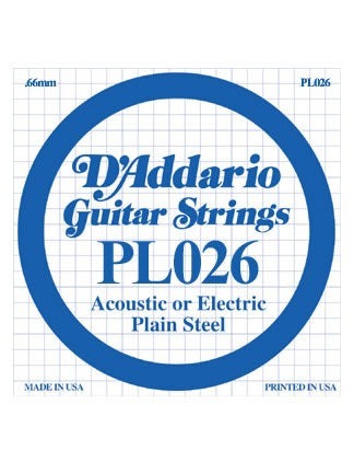 D'Addario Electric/Acoustic Guitar String - Plain Steel - .026 Gauge