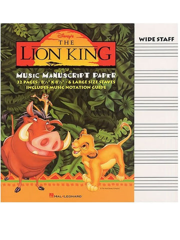 The Lion King Manuscript Paper - Wide Staff
