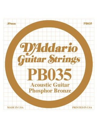 D'addario Phosphor Bronze Acoustic Guitar String - .035 Gauge