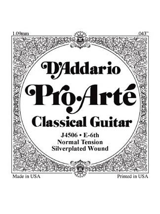 D'addario Pro Arte Classical Guitar String - Silver Wound on Nylon - Normal - E (6th)