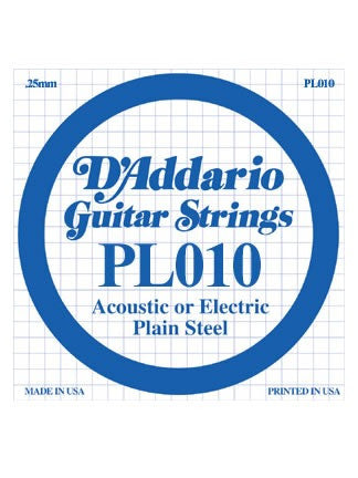 D'Addario Electric/Acoustic Guitar String - Plain Steel - .010 Gauge
