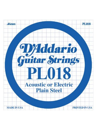 D'Addario Electric/Acoustic Guitar String - Plain Steel - .018 Gauge