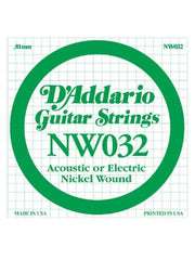 D'Addario XL Electric Guitar String - Nickel Wound - .032 Gauge