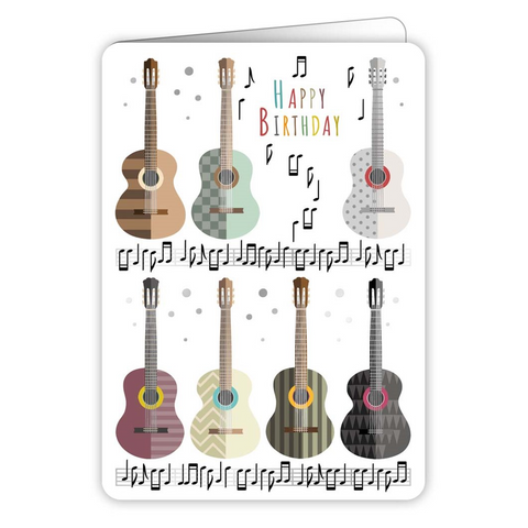 Happy Birthday Coloured Acoustic Guitars Greetings Card