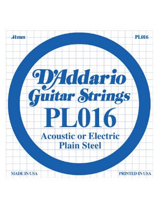 D'Addario Electric/Acoustic Guitar String - Plain Steel - .016 Gauge