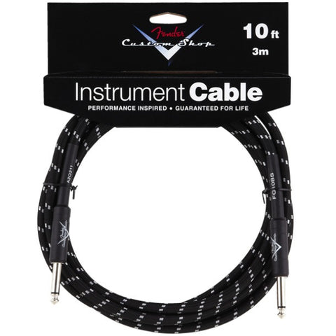 Fender Custom Shop Instrument Cable in Black Tweed - 10ft