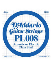 D'Addario Electric/Acoustic Guitar String - Plain Steel - .008 Gauge