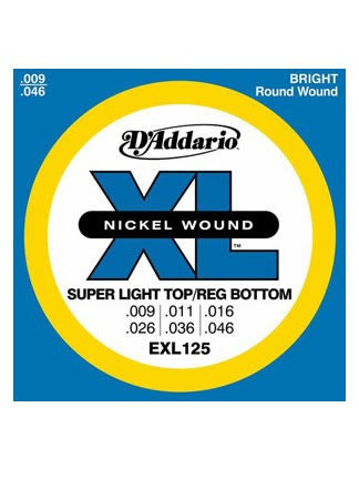 D'Addario XL Electric Guitar Strings - Super Light Top/Reg Bottom (9-46) - Set