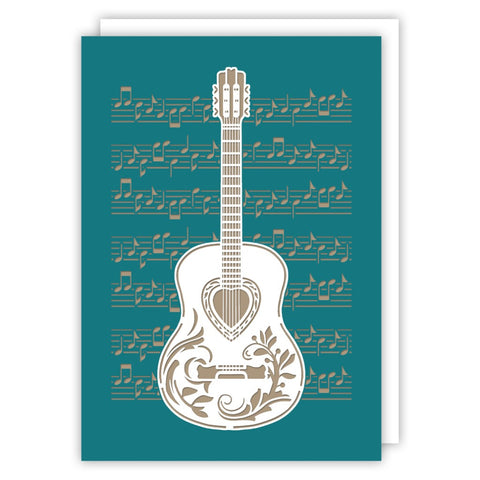 Cut Out Guitar Blank Greetings Card