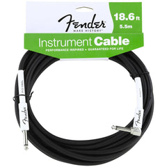Fender Performance Series Instrument Cable in Black - 18.6ft (Angled Jack)