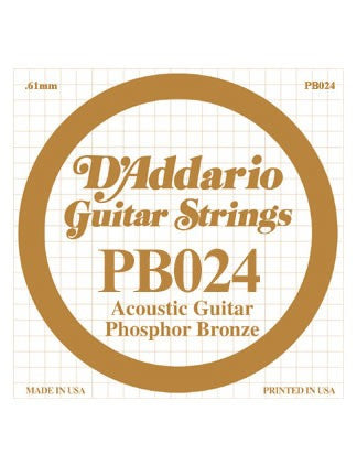 D'addario Phosphor Bronze Acoustic Guitar String - .024 Gauge