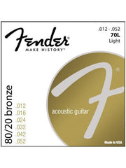 Fender 70L 80/20 Bronze Acoustic Guitar Strings - Light (12-52) - Set
