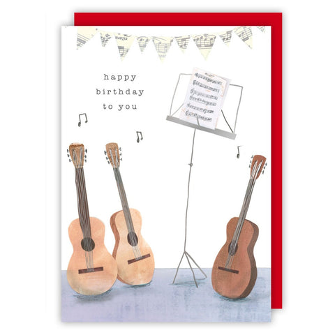 Guitars + Stand Happy Birthday Greetings Card