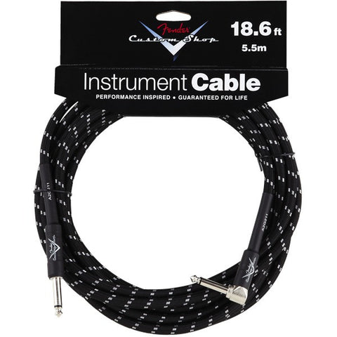 Fender Custom Shop Instrument Cable in Black Tweed - 10ft (Angled Jack)
