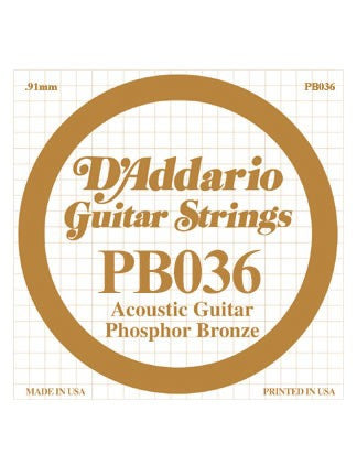 D'addario Phosphor Bronze Acoustic Guitar String - .036 Gauge