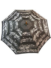Black Umbrella with White Music Notes