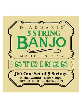 D'Addario 5 String Banjo Strings - Nickel Wound - Light 9-20 - Set