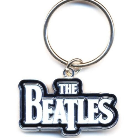 The Beatles Key Ring: Drop T logo - White