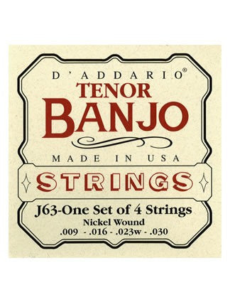 D'Addario Tenor Banjo (4 String) Strings - Nickel Wound - Set